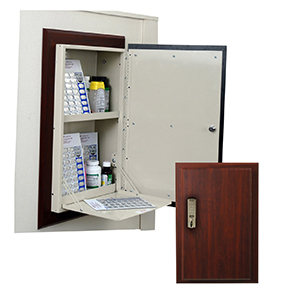 Wooden Laminate In Wall Medication Cabinet, Single Door/Basic Electronic Pushbutton Lock
